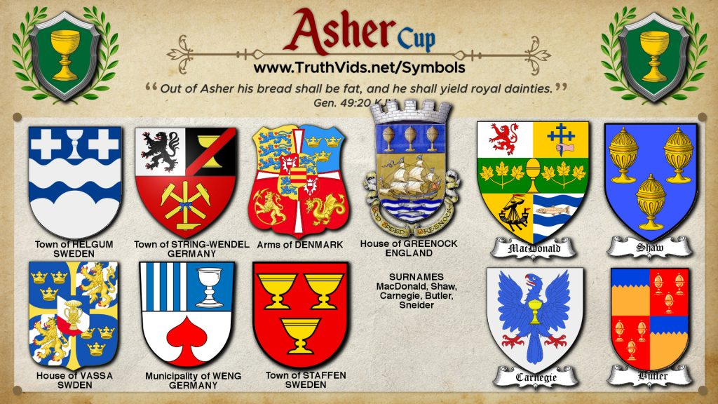 Heraldry of Asher a tribe of Israel the Royal Cup Symbol