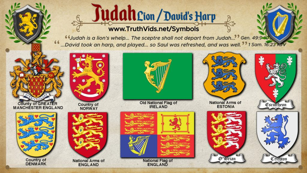 Heraldry of Judah a tribe of Israel the Lion / Davids Harp Hand Symbol