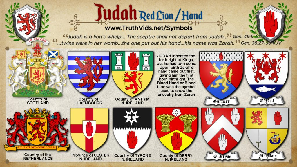 Heraldry of Judah a tribe of Israel the Red Lion/Red Hand Symbol