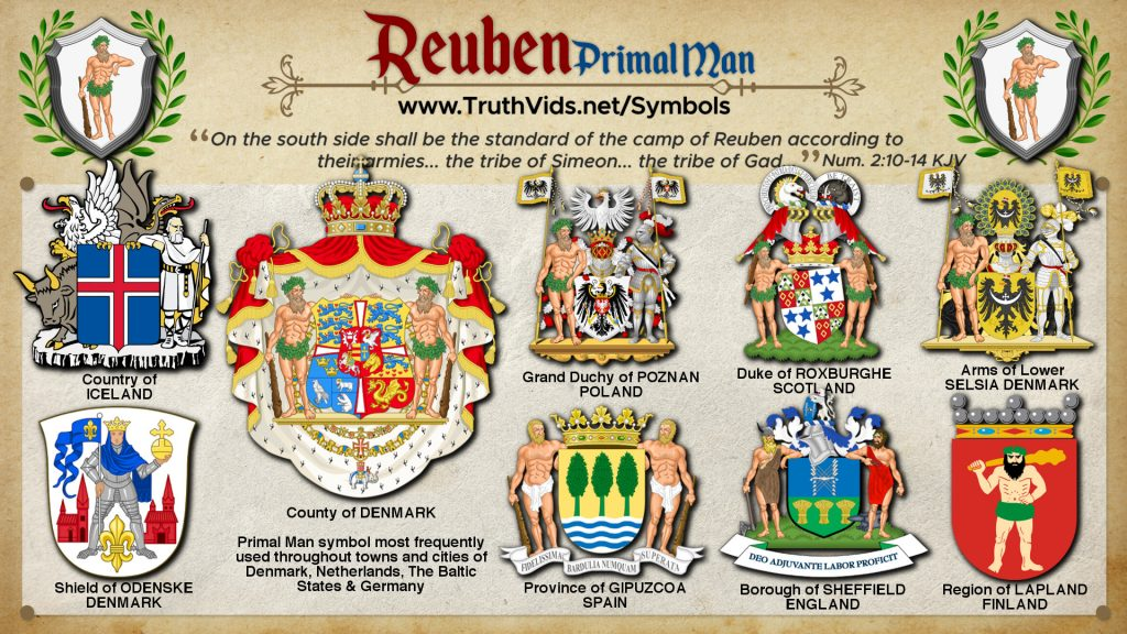 Heraldry of Reuben a tribe of Israel the Primal Man Symbol