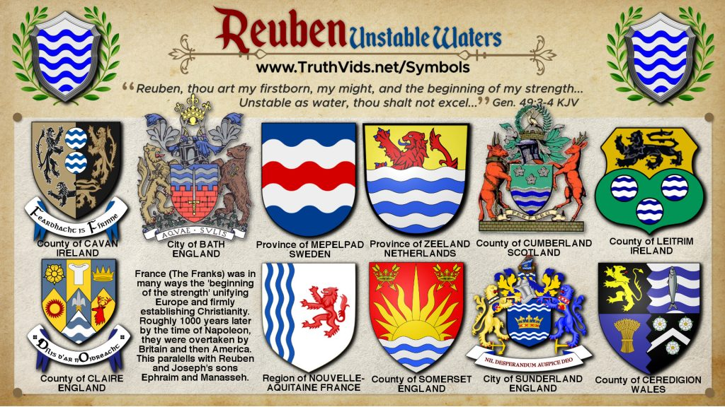 Heraldry of Reuben a tribe of Israel the Unstable Waters Symbol