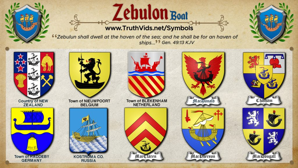 Heraldry of Zebulon a tribe of Israel the Boat/Ship Symbol